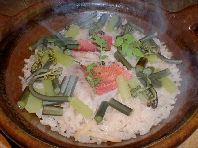 池尻おわんのブログ-金目鯛山菜ご飯1