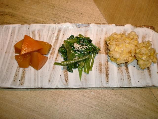 池尻おわんのブログ-旬菜三種盛り1